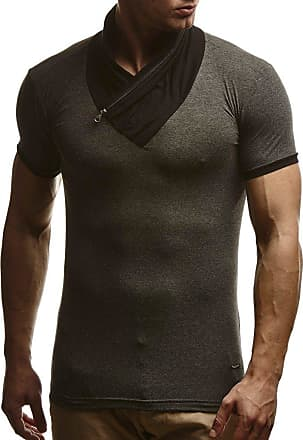 LEIF NELSON Mens T-Shirt Shawl Collar LN-665 Anthracite Large