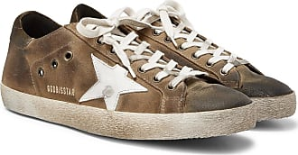 Golden Goose Superstar Distressed Suede And Leather Sneakers - Green