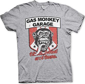 Gas Monkey Garage Officially Licensed Stripes Shield T-Shirt (Heather Grey), XXL