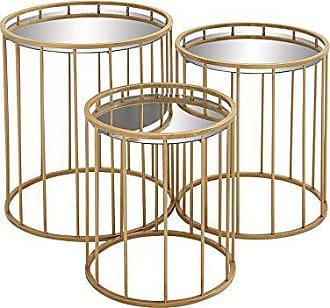 UMA Enterprises Inc. Deco 79 55561 Metal Mir Accent Tables (Set of 3), 22/20/18, Gold