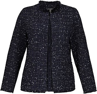 Ulla Popken Womens Plus Size Fringe Edge Boucle Jacket Navy 30 724247 70-56