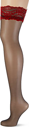 Fiore Exclusive Hold Ups by Fiore with Red Velvet Pattern on Lace Top, 20 Denier (4 - Large, Black)