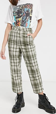 Object straight leg tailored trousers in green check