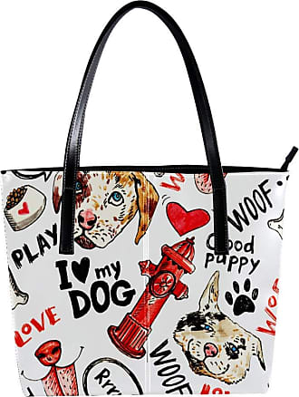 Nananma Womens Bag Shoulder Tote handbag with Sketches Of Dogs, Fire Hydrants, Inscriptions With Markers, And Pens Print Zipper Purse PU Leather Top-handle Zi
