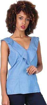 Latifundio Regata Feminina Jeans Babado Azul