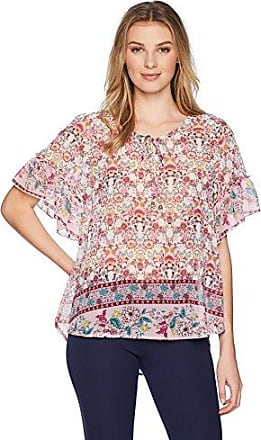 OneWorld Womens Petite Ruffle Short Sleeve Top with Tie Front