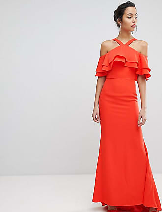 bb6b56e585f Jarlo Oversized Ruffle Front Maxi Dress - Orange