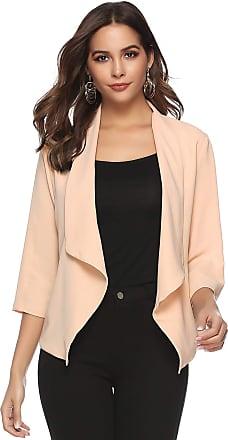 Abollria Womens Chiffon Casual 3/4 Long Sleeve Lightweight Waterfall Open Front Cardigan Blazer Coat