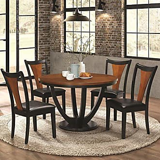Coaster Fine Furniture Coaster Home Furnishings Boyer 5-Piece Round Table Dining Set Black and Amber