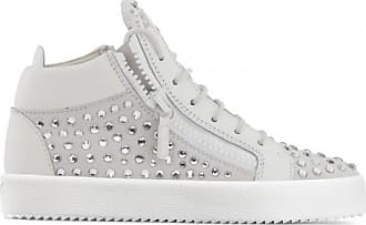 Giuseppe Zanotti White suede mid-top sneaker with crystals DORIS