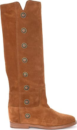 Via Roma 15 Boot in Leather-Colored Suede with Metal Side Buttons Brown