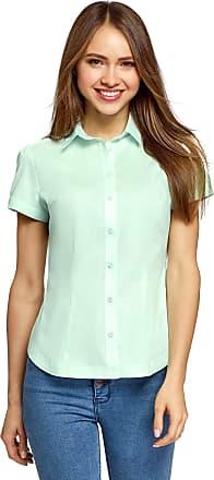 oodji Womens Short Sleeve Cotton Shirt, Green, UK 12 / EU 42 / L