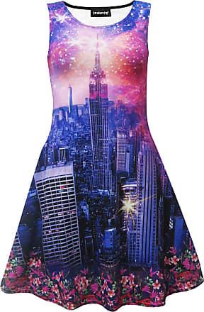Insanity New York City Skyline Fireworks Colourful Floral Flowers Paisley Sleeveless Skater Dress (L)