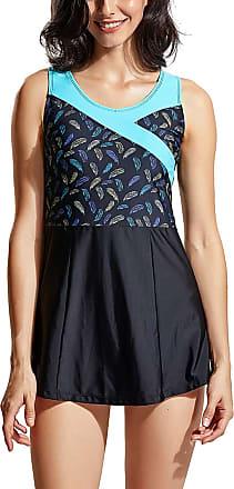 Delimira Womens One Piece Swimdress Skirted Swimsuit Plus Size Swimwear Bathing Multicoloured 24 10