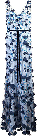 Marchesa embroidered flower dress - Blue