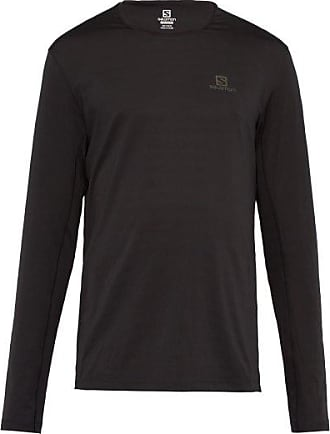 Salomon Xa Mesh-striped Long-sleeved T-shirt - Mens - Black