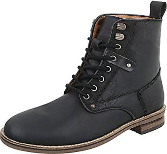 Ital-Design Stiefeletten Leder Herren-Schuhe Chelsea Boots Blockabsatz  Schnürer Schnürsenkel Boots Schwarz, 33d88ecbd4