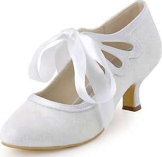 Elegantpark HC1521 Womens Mary Jane Low Heels Prom Closed Toe Lace Satin Ribbons Wedding Party Court Shoes White UK 8(EU 41)