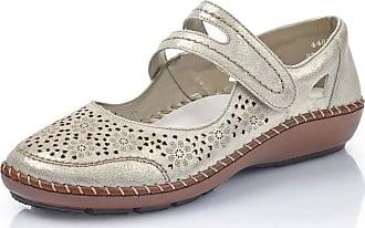 Rieker Womens Delphi Metallic Mary Jane Velcro Shoes 44875-62 3.5 UK Beige