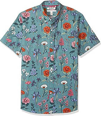 Goodthreads Mens Standard-Fit Short-Sleeve Printed Poplin Shirt, Wallpaper Floral, Medium
