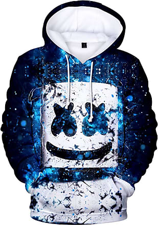 OLIPHEE Mens Fashion 3D Prints Hoodies DJ Inspired Graphic Pullover Jumpers Casual with Pockets Blue spot M