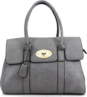 Your Dezire YDezireWomens Designer Frame Office Tote Bag Ladies Handbag Work Shoulder Bag New UK (Grey)