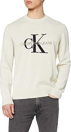 Calvin Klein Jeans Mens Monogram Sweater Sweatshirt, Grey (Ice Grey Heather Pgh), Medium (Size:M)