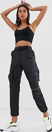 Bershka Schwarze Utility-Hose mit Gürtel