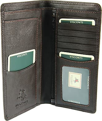 Visconti Mens Jacket Coat Leather Wallet for Credit Cards & Banknotes from Heritage Collection - HT12 (Brown)