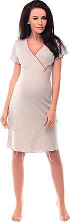 Purpless Maternity 2in1 Pregnancy and Nursing Nightdress for Pregnant and Breastfeeding Women 1055n (10, Gray Melange)