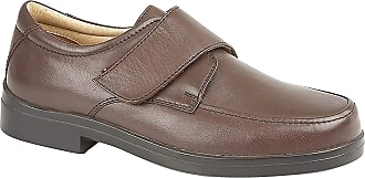 Roamers Mens Roamers Leather MudGuard Touch Fastening Leather XXX Wide Shoes - Brown Softie Leather, Mens UK 12 / EU 46