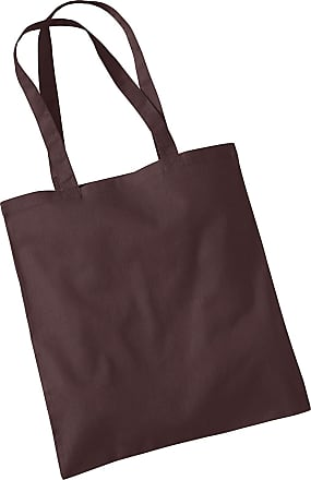 Westford Mill Womens Cotton Promo Shoulder Tote Carry Bag Chocolate One Size
