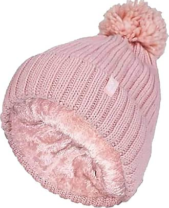 Heat Holders Ladies Thick Chunky Ribbed Cuffed Thermal Insulated Winter Pom Pom Bobble Hat (One Size, Coral (Arden))