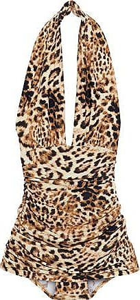 16aca94210 Norma Kamali Norma Kamali Woman Halter Bill Ruched Leopard-print Halterneck  Swimsuit Animal Print Size