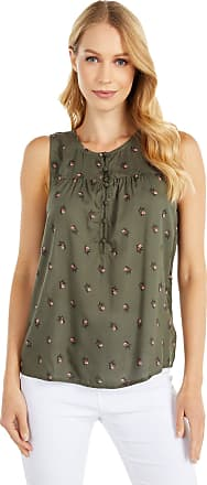 Lucky Brand Womens Sleeveless Printed Henley Tank Top Shirt, Olive Multi, X-Large