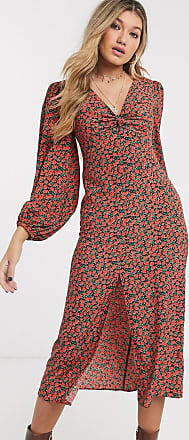 Topshop midi dress with split front in red floral