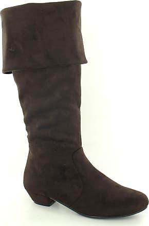 Spot On Ladies Spot On Mid Heel High Leg Boots - Brown - Size 4 UK (37 EU)