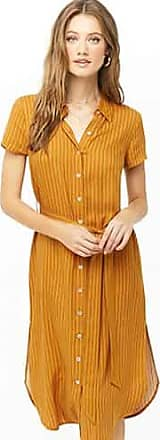 Forever 21 Forever 21 Pinstriped Shirt Dress Gold/cream