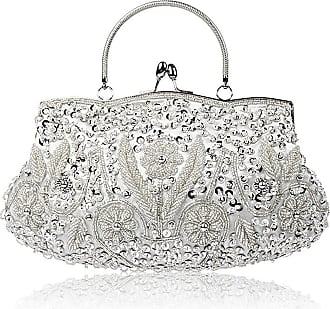 YYW Collection Antique Floral Seed Bead Sequin Soft Clutch Evening Bag Designer Purse Large Clutch Handbag (Silver)