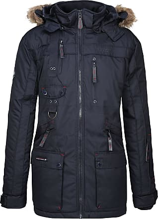 Geographical Norway Mens Winter Parka Jacket Chirac Detachable Fur Hood - Dark Blue, XXL