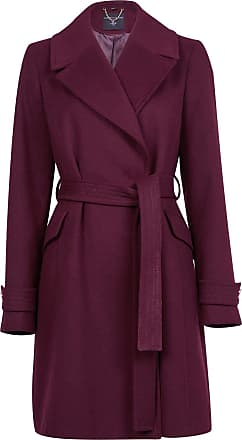 White Label Dorothy Perkins Womens Burgundy Wrap Coat Knee Length Winter Outdoor Wine Size 8