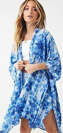 Forever 21 Forever 21 Crinkled Tie-Dye Kimono Indigo/ivory