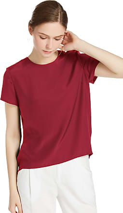 LilySilk Womens Charmeuse Silk T Shirt Tunic Blouse Top Ladies Short Sleeve 22 Momme Pure Silk (Claret, M/12)