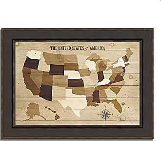 Tangletown Fine Art USA Modern Vintage Wood Framed Art Neutral/Brown/Taupe/Sepia