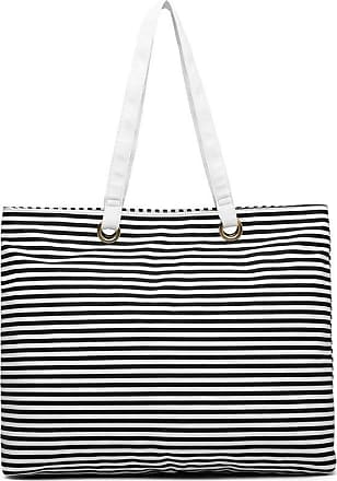 Quirk Stripe Canvas Tote Bag - Black