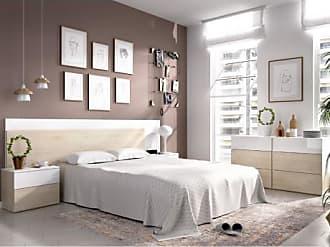 Venta-Unica.com Cama con cajones y mesita de noche ODET - 150x190 cm - Roble y Blanco