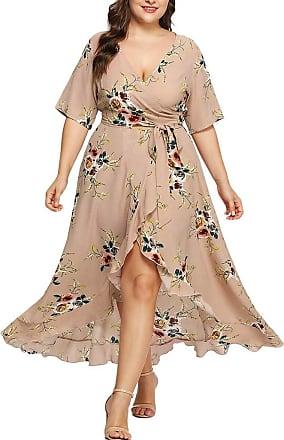 FNKDOR Plus Size Women Casual Short Sleeve V-Neck Boho Flower Bohemian Party Maxi Dress Khaki