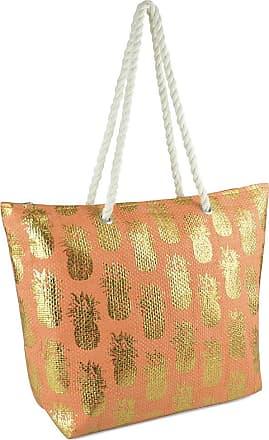 Lora Dora Womens Metallic Shoulder Bag Pineapples Orange/Gold