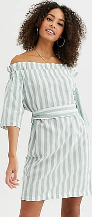 Urban Bliss eleanor off shoulder dress in pastel stripe-Green