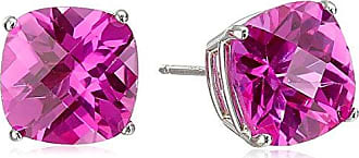 Amazon Collection 14k White Gold Cushion-Cut Checkerboard Created Pink Sapphire Stud Earrings (8mm)